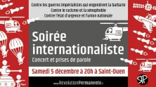 Paris. An Internationalist Evening Against War, Racism, and the State of Emergency
