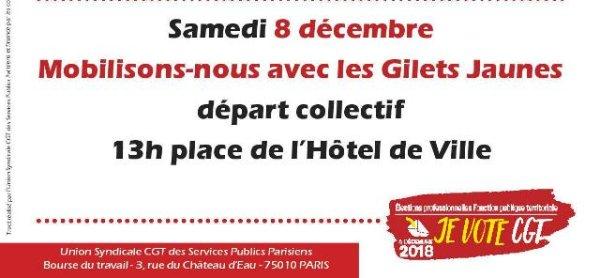La CGT Services Publics de Paris appelle aussi à converger avec les gilets jaunes ce samedi