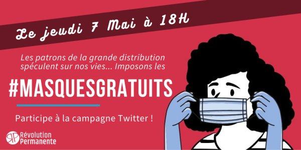 Jeudi 7 mai : Participe à la campagne #MasquesGratuits !