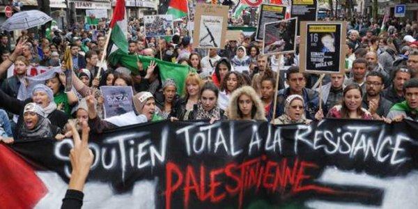 Manifestation en solidarité avec le peuple palestinien contre l'annexion de la Cisjordanie par Israël