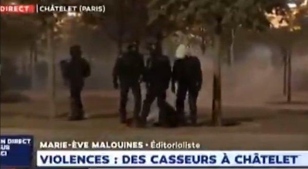 VIDEO. Violences policières en direct sur LCI : un policier donne un coup de semelle à un homme à terre