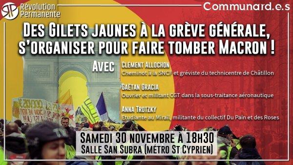 Toulouse. Samedi 30 novembre, réunion publique « Des Gilets jaunes à la grève générale »