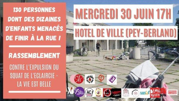 Tous devant la mairie de Bordeaux mercredi contre l'expulsion de l'Éclaircie et de La vie est belle !