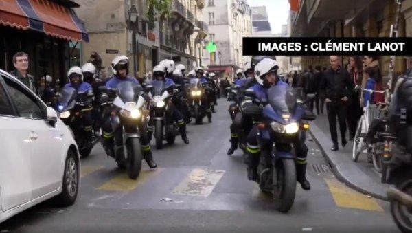 VIDEO. La BRAV-M motorisée patrouille partout dans Paris. Le policier à l'arrière muni d'un bâton de « défense »