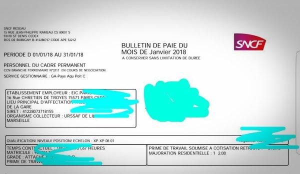 1290€ net. Un aiguilleur de la SNCF dévoile sa fiche de paye de janvier