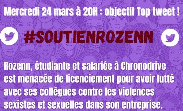 #SoutienRozenn : grande campagne de tweets ce soir 20h pour refuser le licenciement !