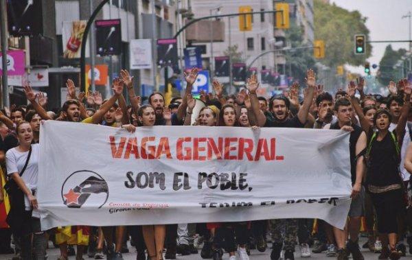 Catalogne : routes et TGV bloqués à l'appel de la gauche syndicale indépendantiste et des Comités de Défense de la République