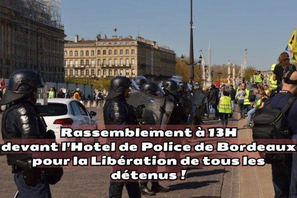 Bordeaux. Rassemblement à 13h dimanche pour la libération des Gilets Jaunes arrêtés