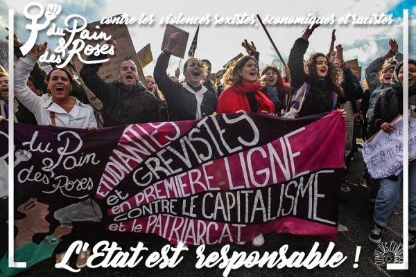 25 novembre. L'État est responsable des violences patriarcales, économiques et racistes !