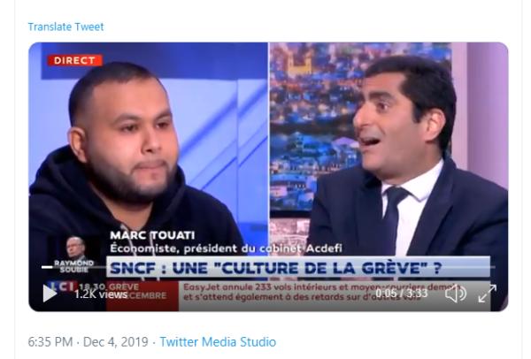 """5 décembre. Anasse Kazib face à Pujadas : """"Oui la SNCF a une tradition de combativité"""""""