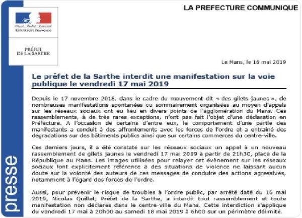 Acte 27 au Mans : une manifestation interdite pour des images faisant « référence à des situations de violence »