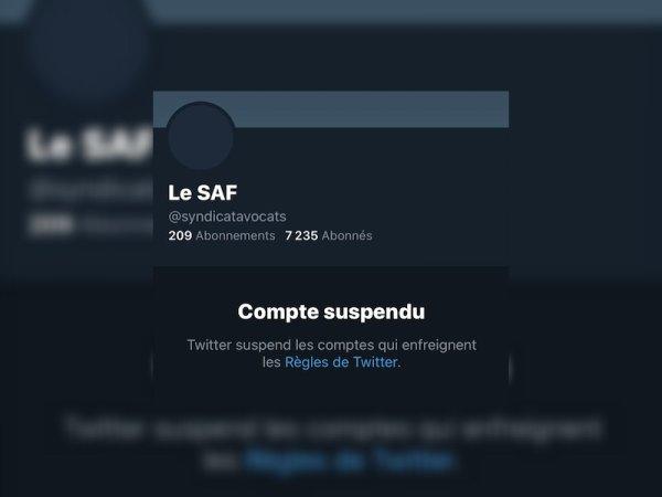Twitter suspend le compte du Syndicat des avocats de France : un « acte grave »